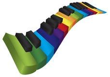 钢琴五颜六色的波浪键盘3D例证 免版税库存图片