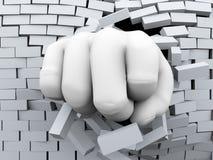 3d通过砖墙破裂的拳头 免版税图库摄影