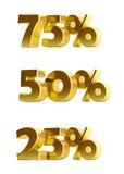 3d金子在白色背景的折扣汇集 免版税库存图片