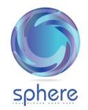 与3D神色的蓝色球形圈子商标 免版税库存图片