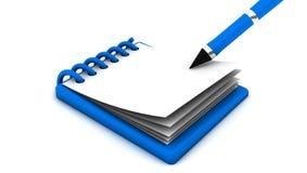 笔记薄和笔在3d 免版税库存照片