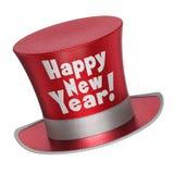 3D回报一顶红色新年快乐高顶丝质礼帽 图库摄影