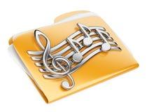 橙色文件夹, 3d与音符的象 库存图片