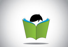 Концепция образования книги зеленого цвета 3d молодого умного ребенк мальчика читая открытая Стоковое Изображение RF