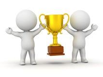 2 характера 3D держа золотой трофей - объединяйтесь в команду концепция победы Стоковая Фотография