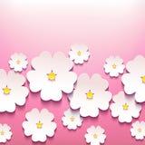 与3d花的美好的时髦的花卉背景 免版税图库摄影