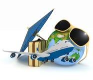 3d手提箱、飞机、地球和伞 免版税库存图片