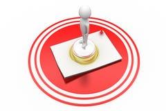 3d有服务响铃和纸的人 免版税图库摄影