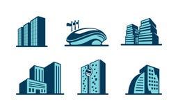 传染媒介3d被设置的大厦象 免版税库存图片