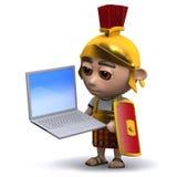 3d有膝上型计算机的罗马战士 库存图片