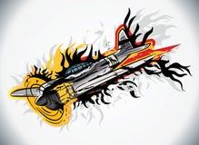 射击在火焰下跌的d的灼烧的争斗飞机下 免版税图库摄影