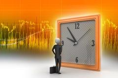3d观看时钟的人 免版税库存照片