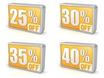打折25% 30% 35% 40%在白色背景的销售3d象 库存照片