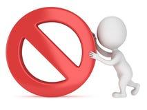 3D人卷禁止的标志 库存图片