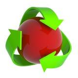 3d回收标志周围红色球形 免版税库存照片