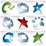 Комплект конкретных объектов сетки 3d красочных Стоковое Изображение