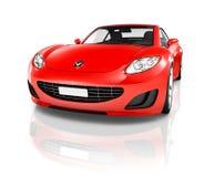 3D红色跑车的图象 免版税库存图片
