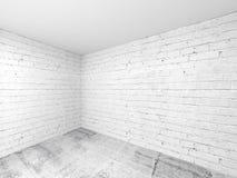Опорожните белый интерьер комнаты 3d, угол с кирпичными стенами Стоковое Изображение