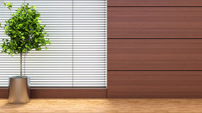 与植物和窗帘的内部 3d例证 免版税库存图片