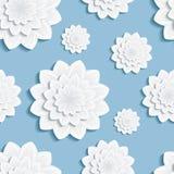 与3d花菊花的无缝的样式蓝色 免版税库存图片