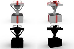 3d礼物盒概念汇集的人与阿尔法和阴影渠道 免版税库存照片