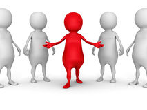 与红色领导人的白色3d人小组 库存图片