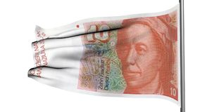 10个瑞士法郎旗子3d动画 股票录像