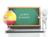 белые человеки 3d с компьтер-книжкой Выучите испанскую концепцию Стоковое Изображение
