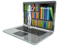 3d人问题白色 新技术 数字式图书馆概念 库存图片