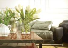 室内设计,客厅 3d翻译 免版税库存图片