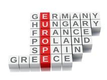 3d欧洲概念 与信件的纵横填字谜 免版税库存照片