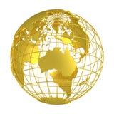 Золотой глобус планеты 3D земли Стоковые Изображения RF
