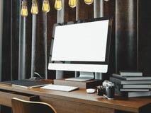 与书的经典工作区在桌上 3d回报 图库摄影