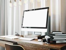 与书的经典工作区在桌上 3d 免版税库存图片