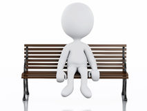 белые человеки 3d на скамейке в парке Стоковые Фотографии RF