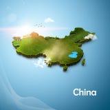 Реалистическая карта 3D Китая Стоковое Изображение RF