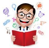 3D创造性的想法现实聪明的孩子男生阅读书  免版税库存照片