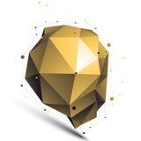 金子3D传染媒介摘要设计对象,多角形复杂的无花果 库存图片