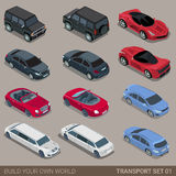 Плоский равновеликий комплект значка безрельсового транспорта города 3d Стоковая Фотография
