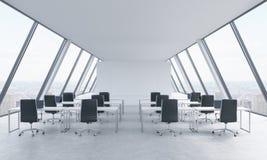 一个明亮的现代露天场所的工作场所向高处发射办公室 白色桌和黑椅子 纽约全景在窗口里 3d关于 免版税库存照片