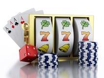 3d有模子、卡片和芯片的老虎机 赌博娱乐场概念 免版税库存照片