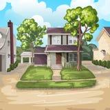 белизна дома семьи предпосылки 3d изолированная иллюстрацией Стоковые Изображения RF