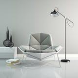 一部分的与回报2的现代灰色扶手椅子3D的内部 图库摄影