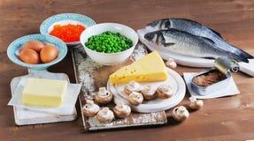 维生素D的健康食物来源 库存图片
