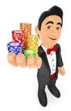 3D有赌博娱乐场芯片的无尾礼服人 赌注概念 免版税库存照片