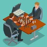 棋人作用球员二 双人坐的和使用的棋 背景董事会棋方法白色 平的3d传染媒介等量例证 生意人二 库存图片