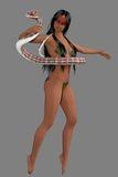 异乎寻常的3d蛇舞蹈家 免版税图库摄影