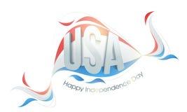 3D美国人的美国独立日文本 免版税库存照片