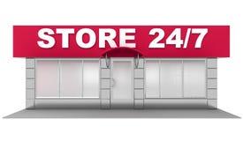 3D在白色隔绝的商店的例证 库存图片