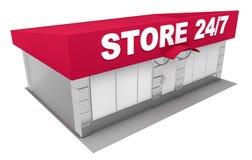 3D在白色隔绝的商店的例证 免版税图库摄影